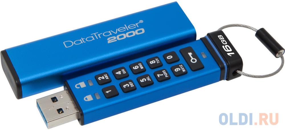 Флешка 16Gb Kingston Keypad DT2000/16GB USB 3.0 синий флешка 16gb smart buy paean usb 2 0 белый sb16gbpn w