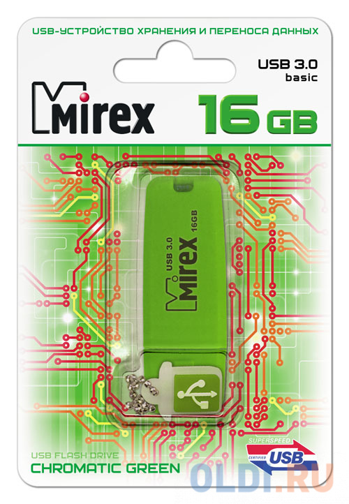 Флешка 16Gb Mirex Chromatic USB 3.0 зеленый 13600-FM3CGN16