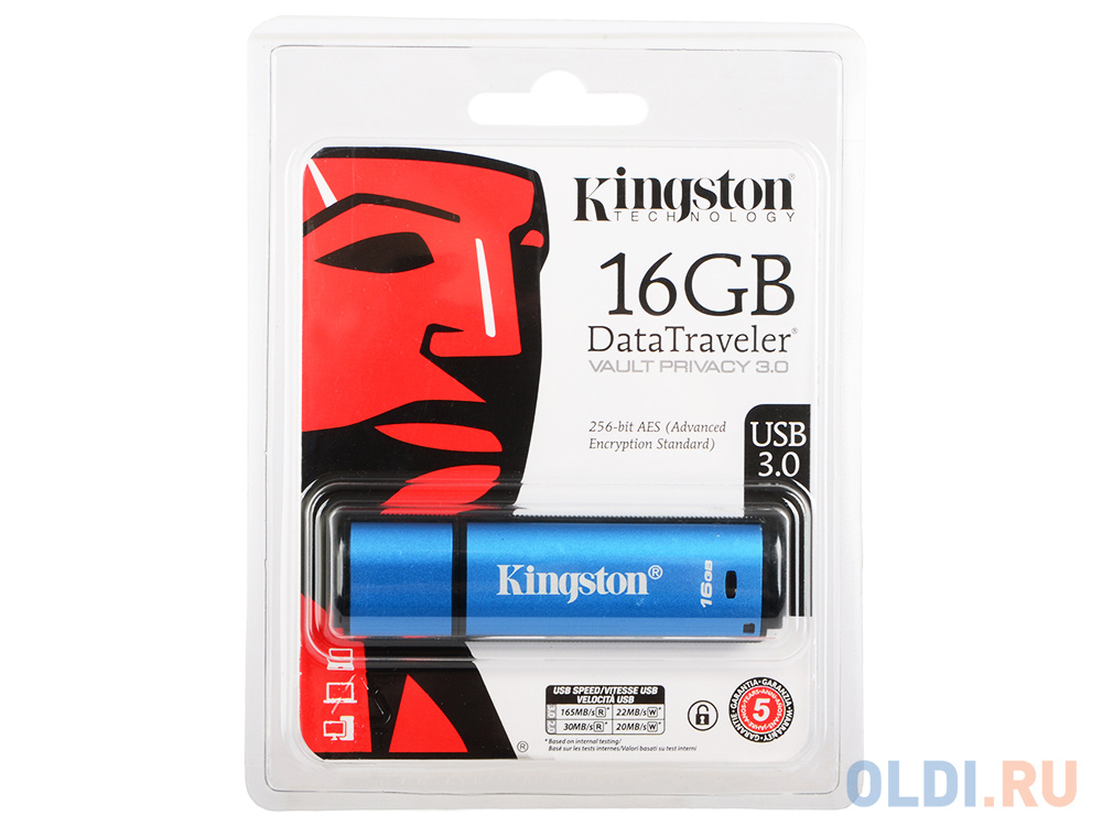 USB флешка Kingston DataTraveler Vault Privacy 3.0 16Gb Blue (DTVP30/16GB) фото