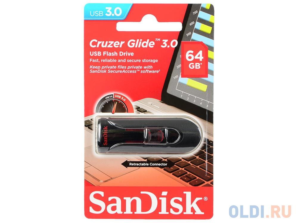 Внешний накопитель 64GB USB Drive <USB 3.0 SanDisk Cruzer Glide 3.0 (SDCZ600-064G-G35).
