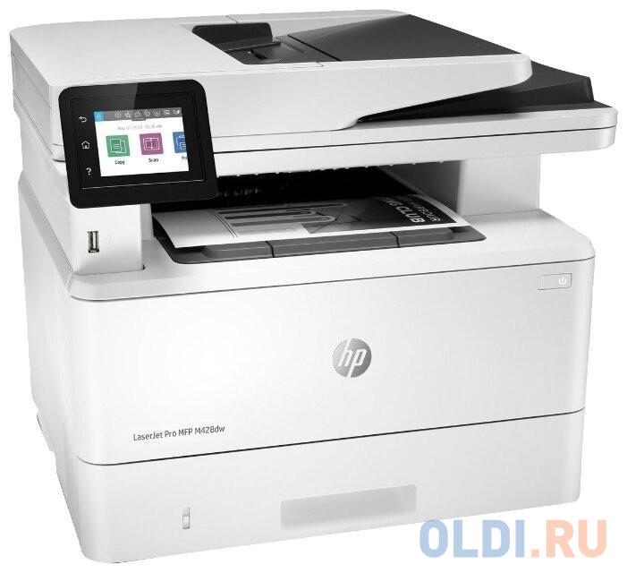 МФУ HP LaserJet Pro M428dw RU принтер/сканер/копир, A4, ADF, дуплекс, 38 стр/мин, 512Мб, USB, LAN, WiFi (замена F6W16A M426dw)