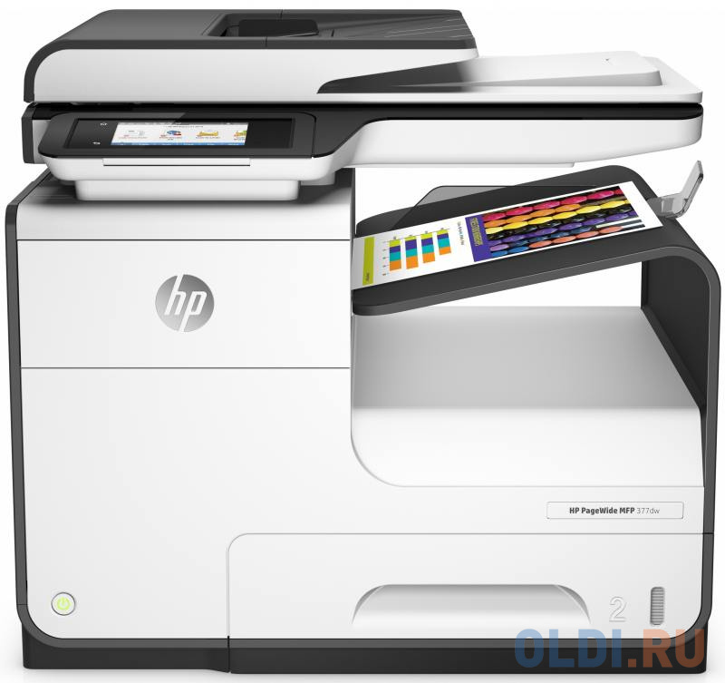 МФУ HP PageWide 377dw принтер/ сканер/ копир/факс, A4, 30стр/мин (Офисный режим:До 45 стр./мин), дуплекс, ADF, 768Мб, USB, LAN, WiFi