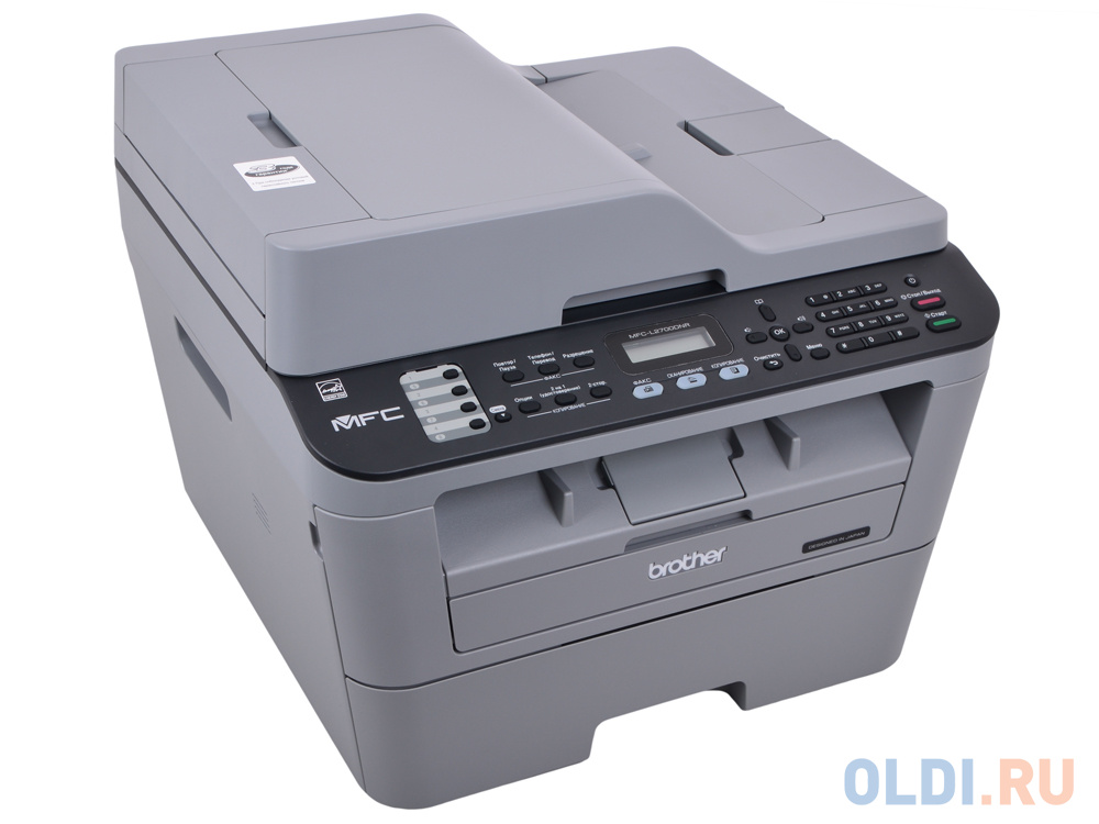 МФУ лазерное Brother MFC-L2700DNR принтер/сканер/копир/факс, A4, 24стр/мин, дуплекс, ADF, 32Мб, USB, LAN