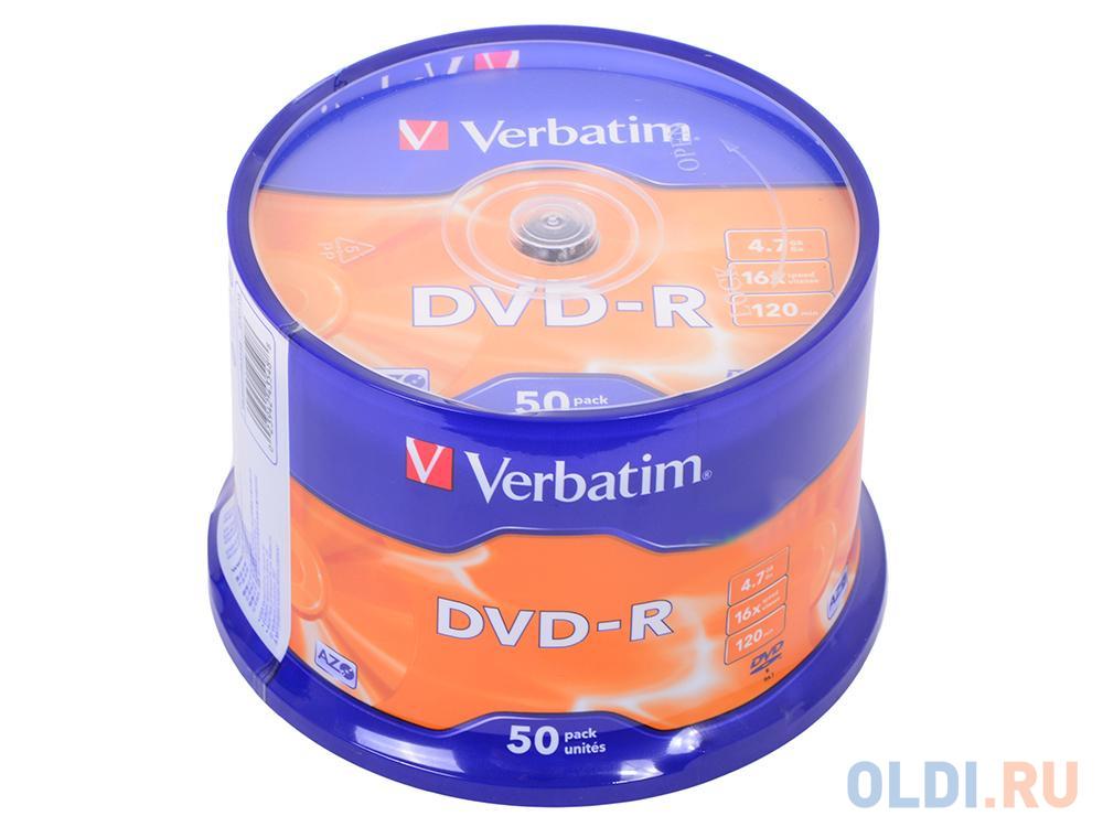 Диски DVD-R 4.7Gb Verbatim 16х 50 шт Cake Box <43548>