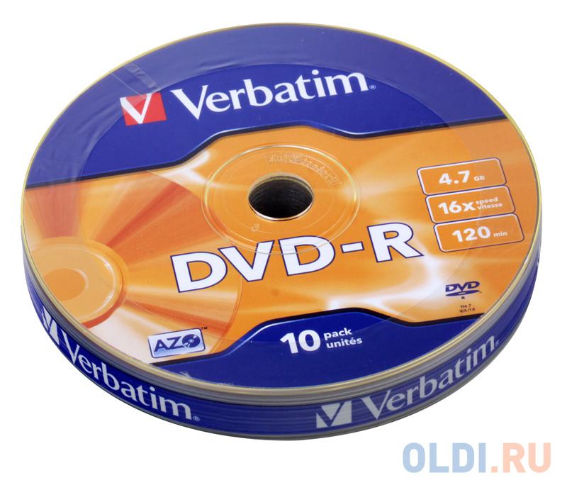 Диски DVD-R Verbatim 16x 4.7Gb Shrink 10шт 43729