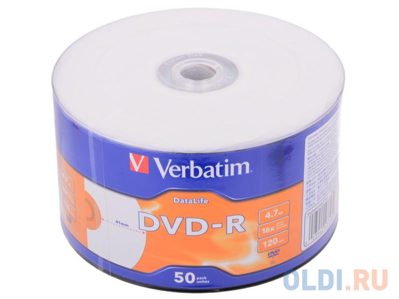 Диск DVD-R 4.7Gb Verbatim 16x Shrink/50 DataLife Ink Print 43793