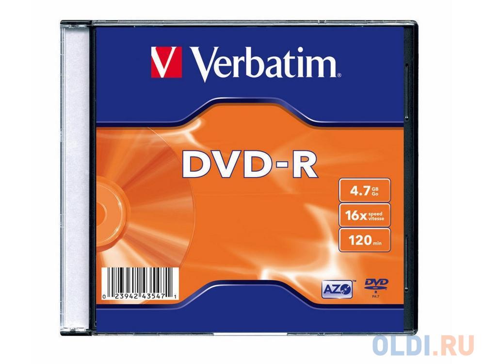 Диски DVD-R Verbatim 16x 4.7Gb SlimCase 100шт (5x20шт) 43547