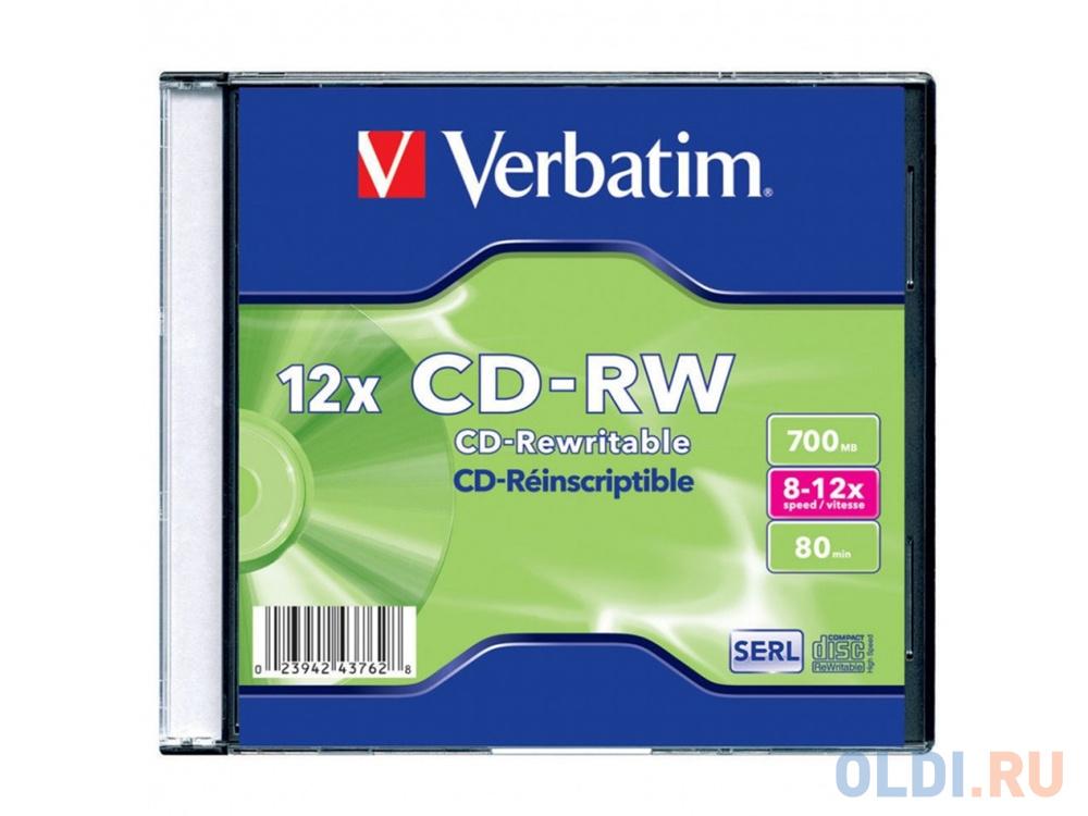 Диски CD-RW Verbatim 700Mb 8-12x SlimCase 1шт 43762