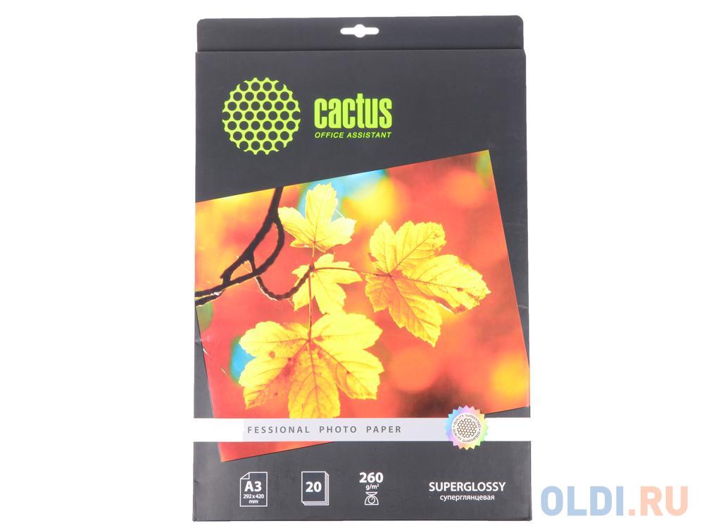 Фото - Бумага Cactus CS-HGA326020 Professional А3 260г/кв.м суперглянцевая 20л бумага cactus cs gsa413020 cs ga413020 а4 130г кв м глянцевая 20л