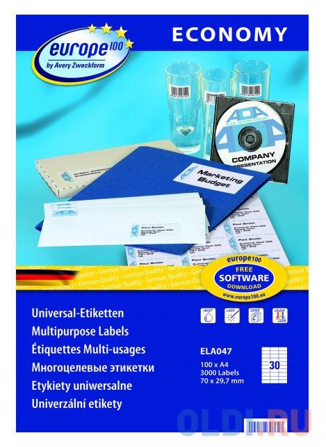 Этикетки Europe100 ELA047-100 ELA047 A4 70x29.7мм 30шт на листе/70г/м2/100л./белый матовое самоклей. универсальная фото