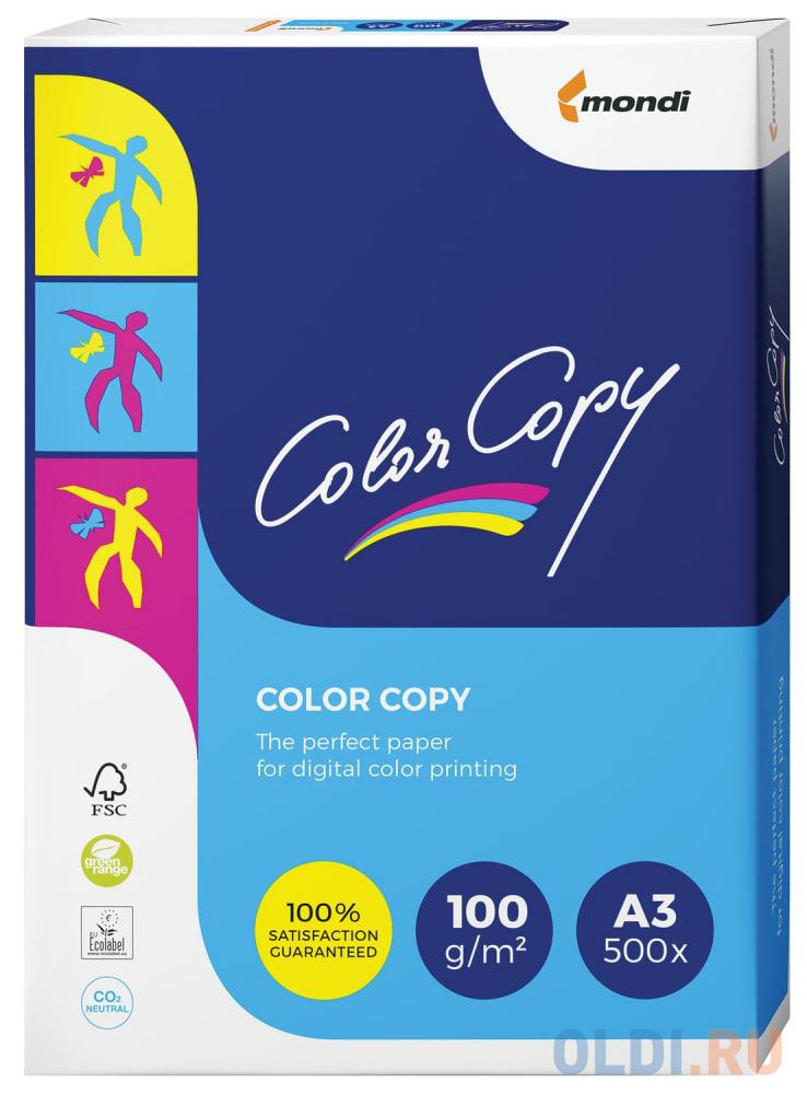 Бумага COLOR COPY, А3, 100 г/м2, 500 л., для полноцветной лазерной печати, А++, Австрия, 161% (CIE) бумага color copy большой формат 297х420 мм а3 200 г м2 250 л для полноцветной лазерной печати а австрия 161% cie a3 7158 1 шт