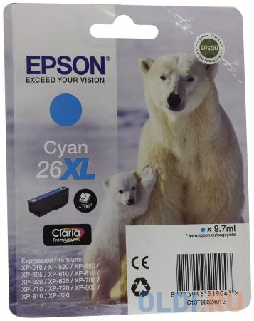 Картридж Epson C13T26324012 для Epson XP-600/605/700/710/800 голубой картридж epson c13t26124012 для epson xp 600 700 800 голубой