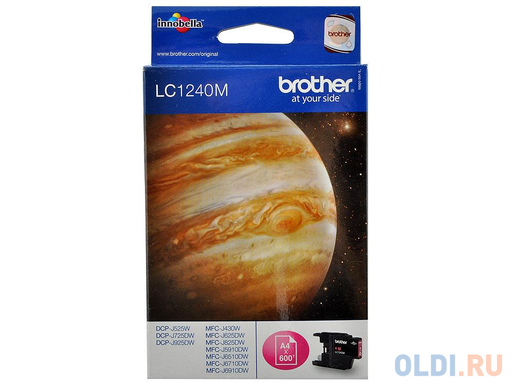 Картридж Brother LC1240M 600стр Пурпурный картридж brother lc 563bk для mfcj2310 2510 3520 3720 чёрный 600стр