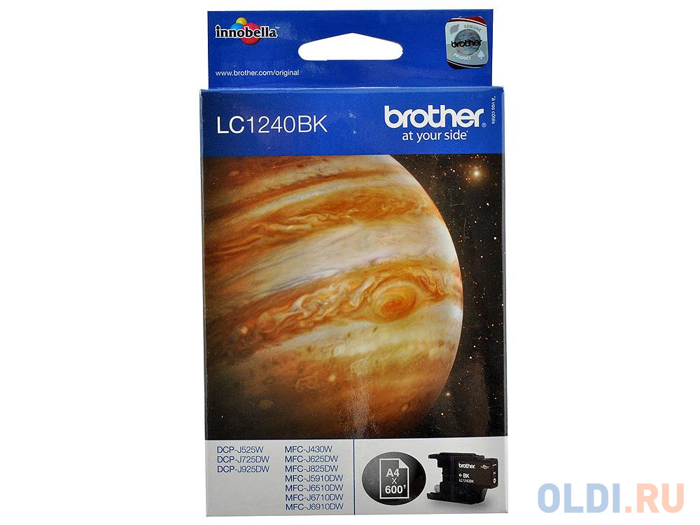 Картридж Brother Bro-LC1240Bk 600стр Черный картридж brother lc 563bk для mfcj2310 2510 3520 3720 чёрный 600стр