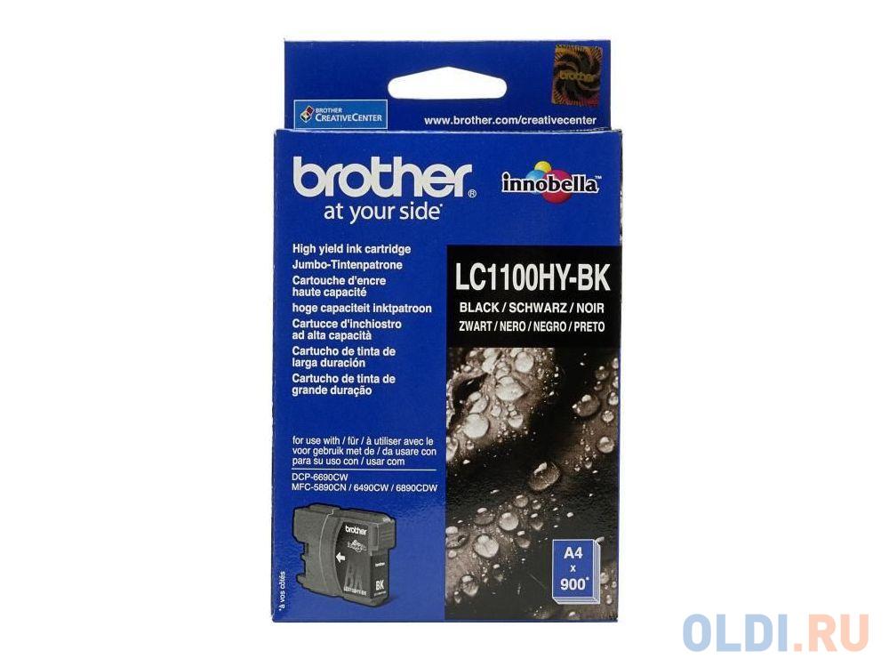 Картридж струйный Brother LC1100HYBK черный для DCP-6690CW (900 стр)