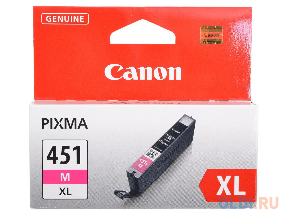Фото - Картридж Canon CLI-451M XL для MG6340, MG5440, IP7240 . Пурпурный. 660 страниц. картридж canon cli 451m xl для mg6340 mg5440 ip7240 пурпурный 660 страниц