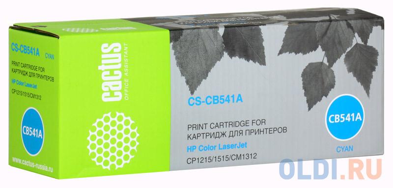 Картридж Cactus CS-CB541A для HP Color LaserJet CP1215/1515/CM1312 голубой 1400стр картридж cactus cs q3961a для hp color laserjet 2550 2820 2840 голубой 4000стр