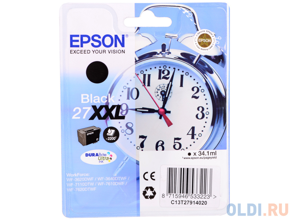 Картридж Epson C13T27914020 для WF-3620DWF WF-3640DTFW WF-7110DTW черный 2200стр weifeng wf 717 professional video camera