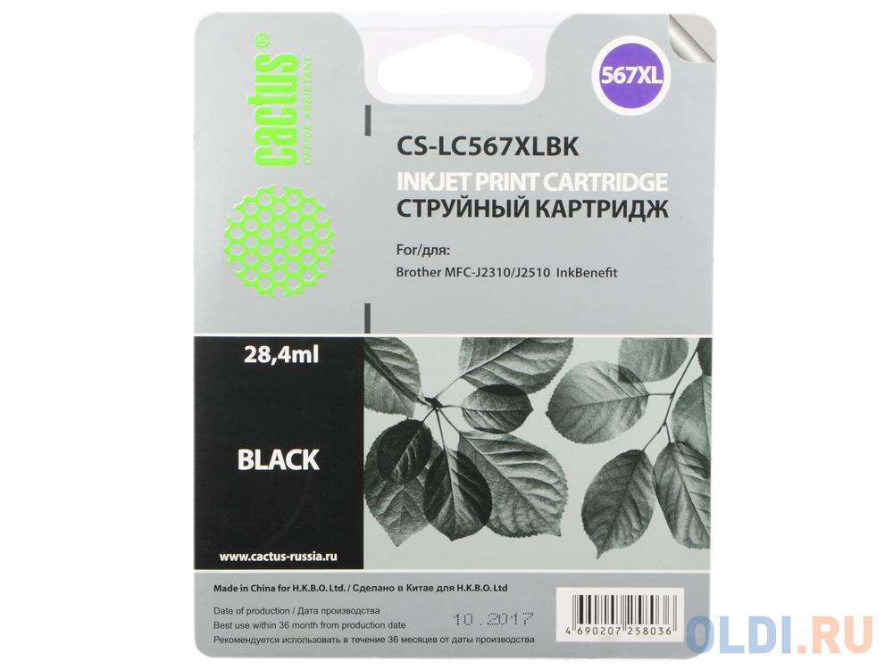 Картридж струйный Cactus CS-LC567XLBK черный для Brother MFC-J2510 картридж струйный brother lc567xlbk