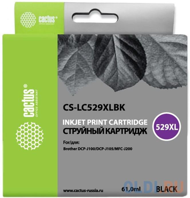 Картридж Cactus LC-529XLBK для Brother DCP-J100/J105/J200 черный картридж brother lc 529xlbk