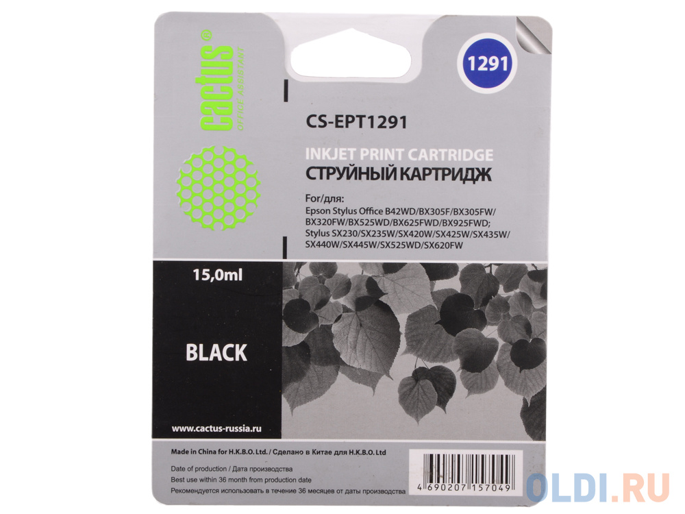 Картридж Cactus CS-EPT1291 для Epson Stylus Office B42/BX305/BX305F/BX320 15мл черный картридж cactus cs ept1292 для epson stylus office b42 bx305 bx305f 100 мл голубой