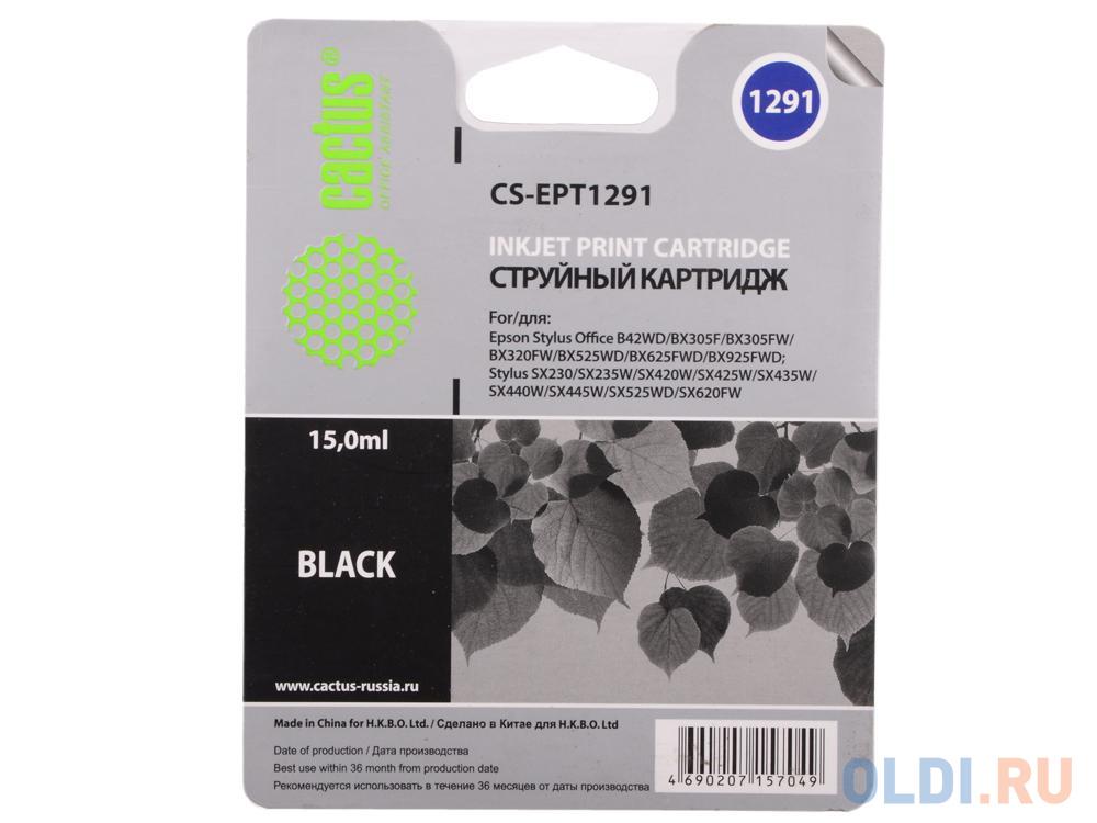 Картридж Cactus CS-EPT1291 для Epson Stylus Office B42/BX305/BX305F/BX320 15мл черный картридж cactus cs ept1291 для epson stylus office b42 bx305 bx305f bx320 15мл черный