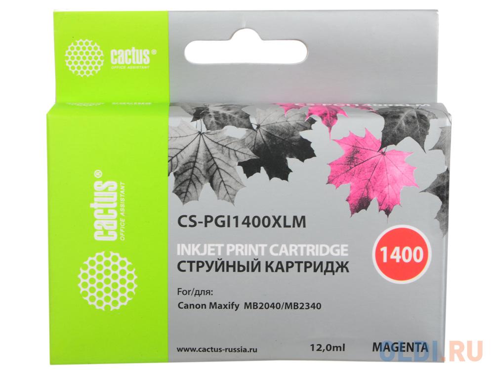 Картридж Cactus CS-PGI1400XLM для Canon MB2050/MB2350/MB2040/MB2340 пурпурный картридж cactus cs pgi1400xlm совместимый