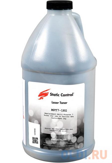 Тонер Static Control MPT7-1KG черный флакон 1000гр. для принтера HP LJP1005/1006/1505 тонер static control trh1505os3 10kg черный флакон 10000гр для принтера hp ljp1505 m1120 m1522n