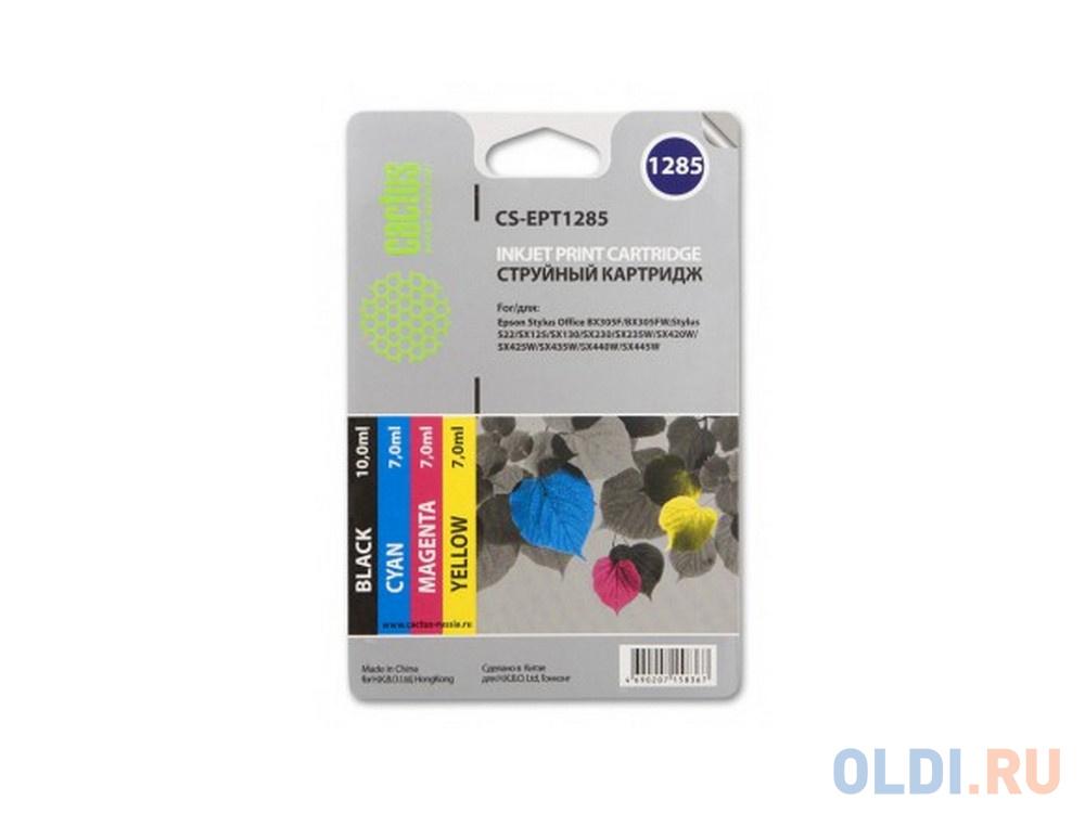 Картридж Cactus CS-EPT1285 для Epson Stylus S225 BX305 цветной 215стр 4шт картридж cactus cs ept1292 для epson stylus office b42 bx305 bx305f 100 мл голубой
