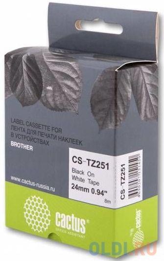 Картридж ленточный Cactus CS-TZ251 для Brother 1010/1280/1280VP/2700VP черный