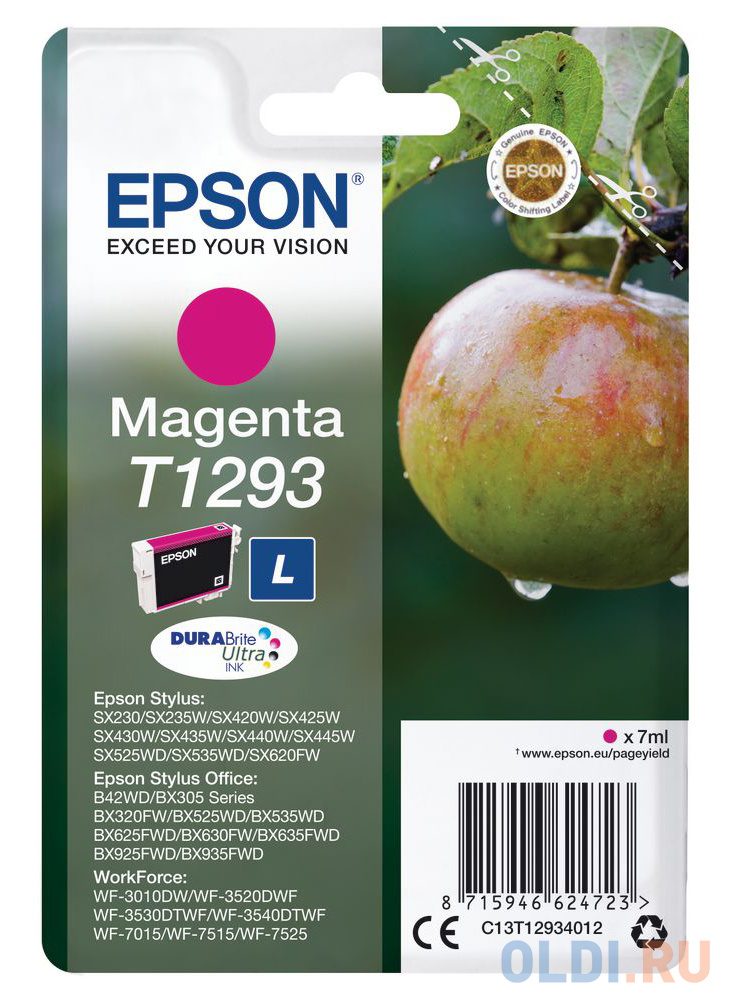 Картридж Epson C13T12934012 для Epson St SX420/425/525WD/B42WD/BX320FW пурпурный фото