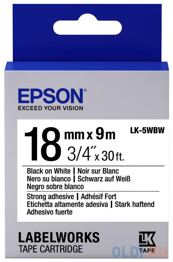 Лента Epson LK-5WBW для Epson LabelWorks LW-400 400VP 700 900P C53S655012 лента epson lc 4wbn9 для epson labelworks lw 300 lw 400 lw 400vp lw 700 lw 900p черный