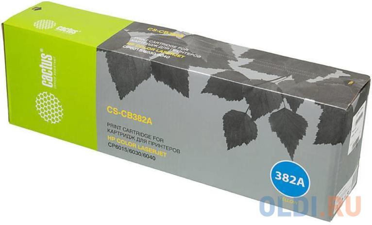 Картридж Cactus CS-CB382AV для HP CLJ CM6030/CM6040/CP6015 желтый 21000стр картридж hp cb380a для hp clj cm6030 cm6040 черный