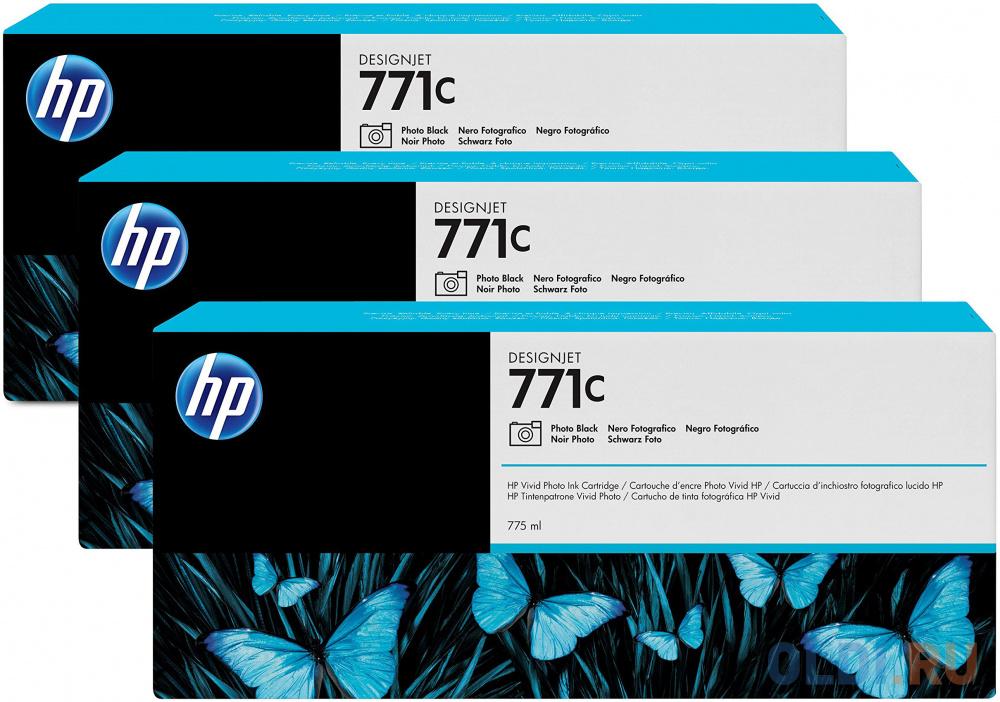 Картридж HP B6Y37A №771С для HP Designjet Z6200 черный 3шт
