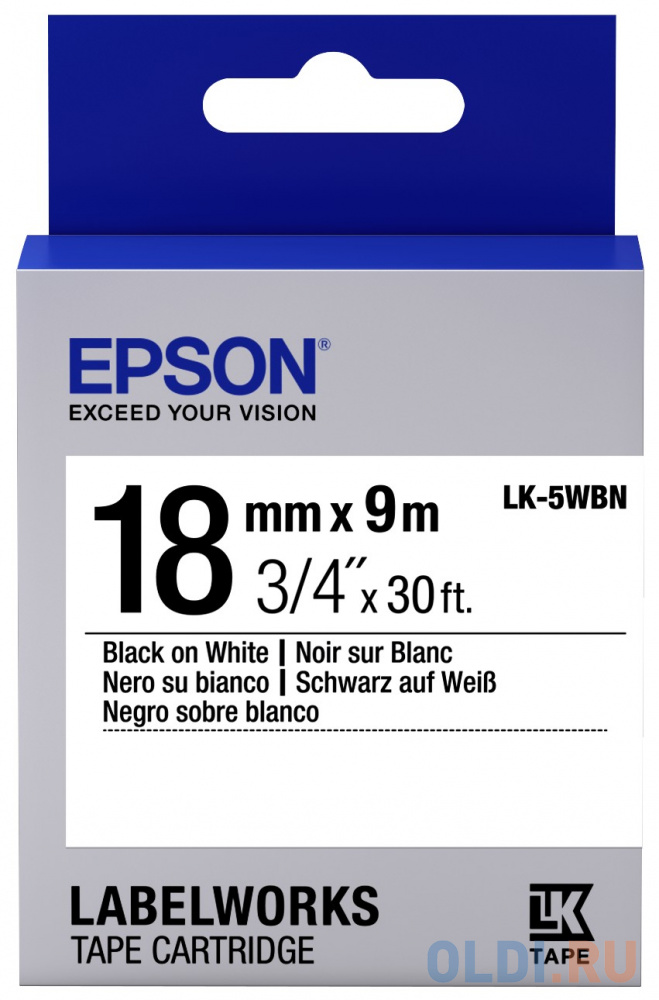 Лента Epson LK-5WBN для Epson LabelWorks LW-400 400VP 700 900P C53S655006 лента epson lc 4wbn9 для epson labelworks lw 300 lw 400 lw 400vp lw 700 lw 900p черный