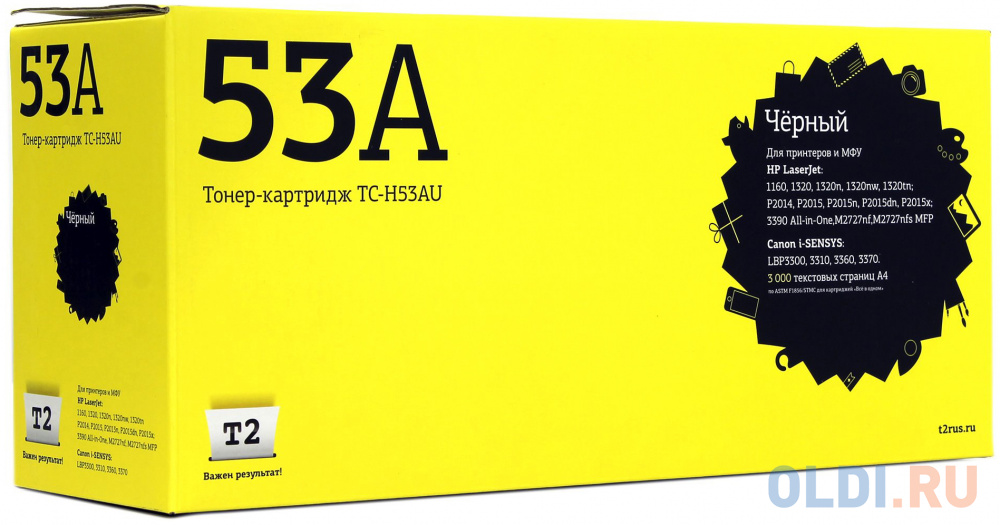 Картридж T2 Q7553A для HP LJ P2014 P2015 M2727nf MFP черный 3000стр TC-H53A