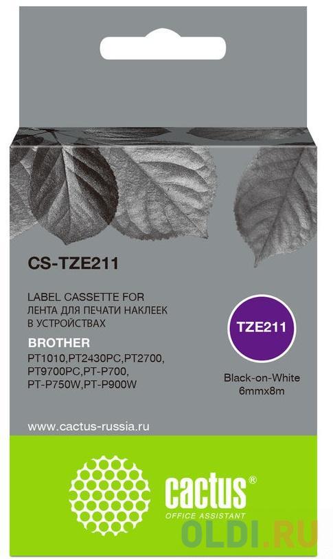 Картридж ленточный Cactus CS-TZE211 черный для Brother 1010/1280/1280VP/2700VP