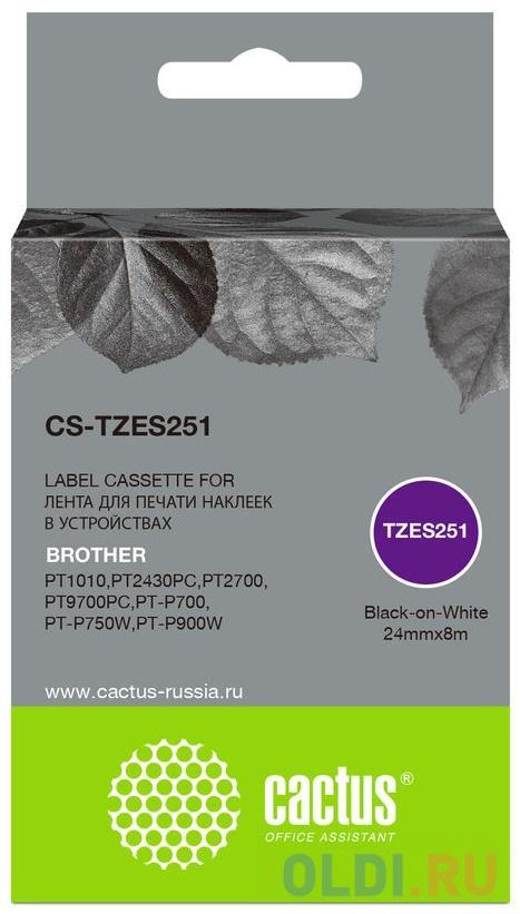 Картридж ленточный Cactus CS-TZES251 черный для Brother 1010/1280/1280VP/2700VP