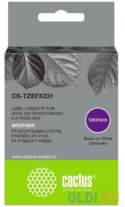 Картридж ленточный Cactus CS-TZEFX231 черный для Brother 1010/1280/1280VP/2700VP