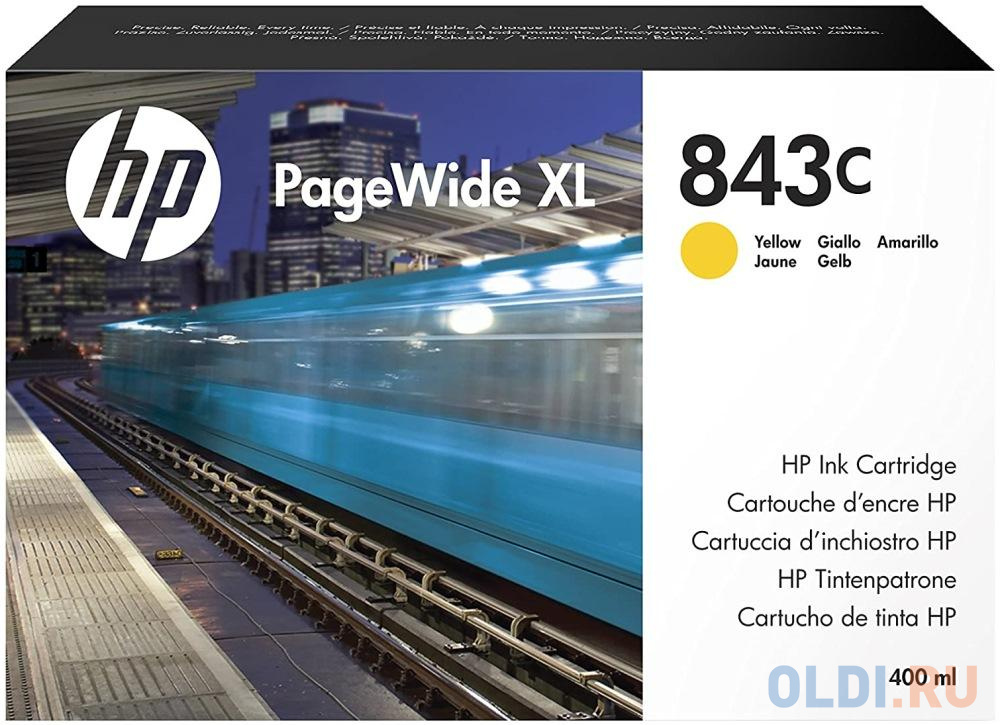 Фото - Картридж HP 843C C1Q68A для HP PageWide XL желтый картридж hp 843c c1q68a с желтыми чернилами 400 мл для pagewide xl 5000 4x000