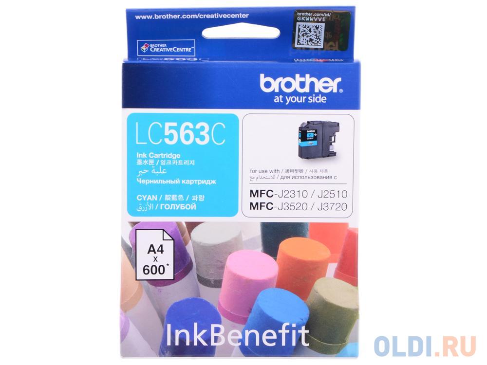 Картридж Brother LC563C 600стр Голубой картридж brother lc 563bk для mfcj2310 2510 3520 3720 чёрный 600стр