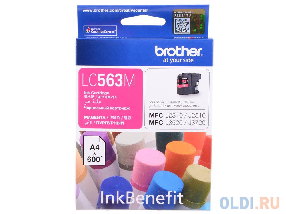 Картридж Brother LC563M 600стр Пурпурный картридж brother lc 563bk для mfcj2310 2510 3520 3720 чёрный 600стр