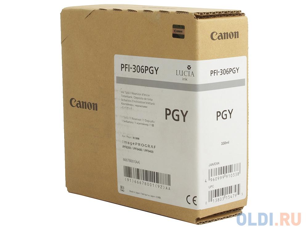 Картридж Canon PFI-306 PGY для 8400 9400 фото серый картридж canon pfi 306 зеленый