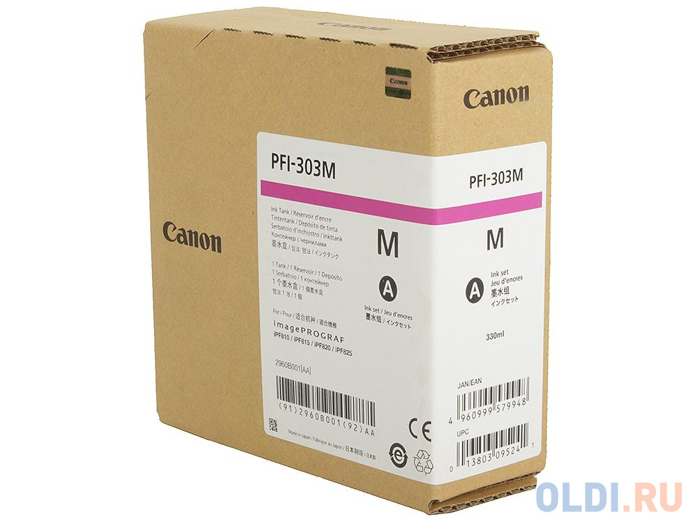 Картридж Canon PFI-303 M для iPF815 825 пурпурный картридж canon pfi 303 mbk для ipf815 825 черный матовый