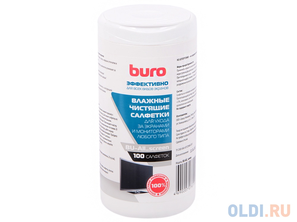 Фото - Влажные салфетки BURO BU-All_screen 100 шт влажные салфетки buro bu tmix 65 шт