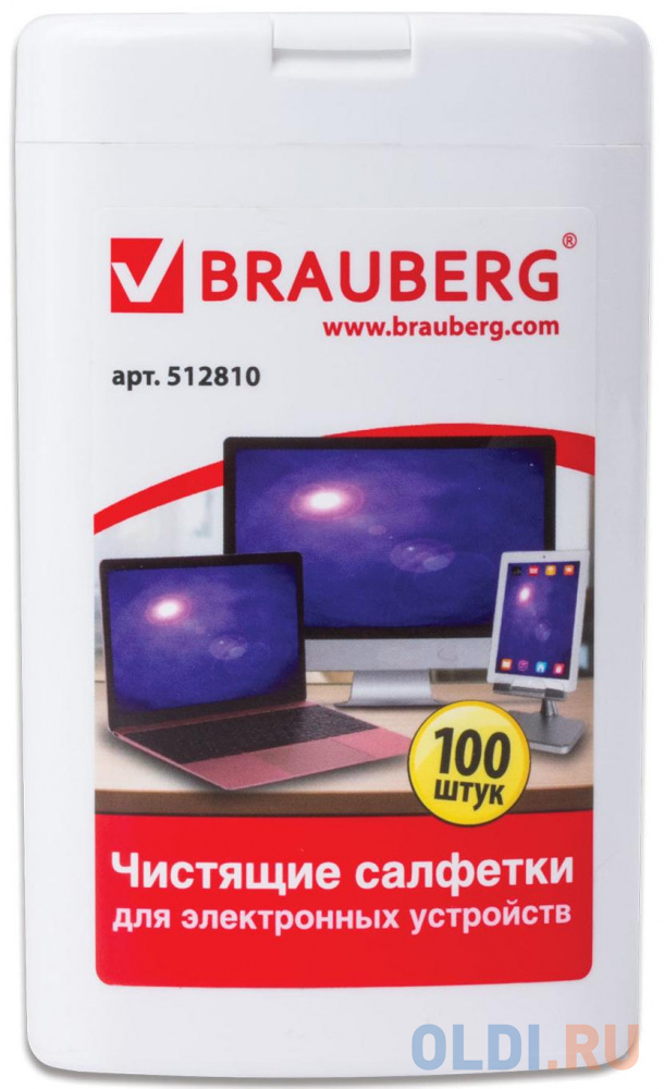 Чистящие салфетки BRAUBERG 512810 100 шт