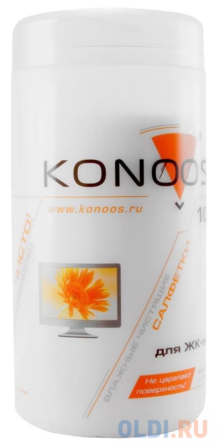 Салфетки для ЖК-экранов в банке, 100 шт, Konoos KBF-100