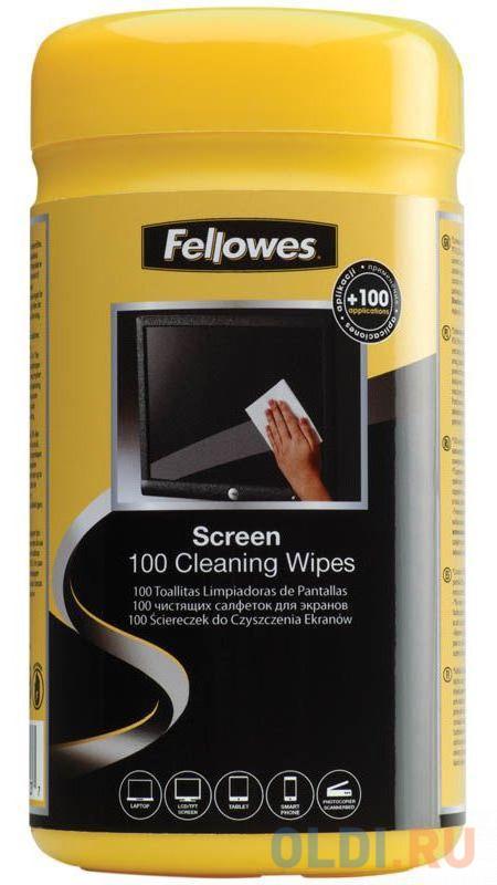 Фото - Салфетки Fellowes чистящие для экранов в тубе, дерматолог. безопасны, 100 шт (UK) чистящие салфетки fellowes lamirel la 5144001 100 шт