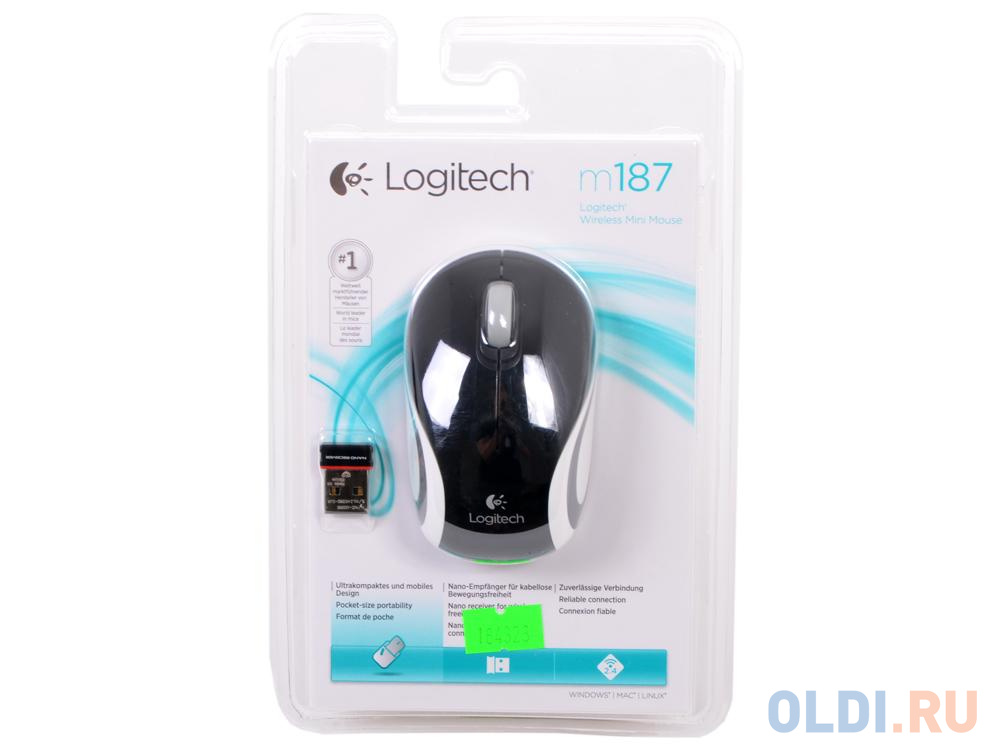Мышь (910-002736) Logitech Wireless Mini Mouse M187, Black мышь logitech wireless mx master 3 advanced black 910 005710