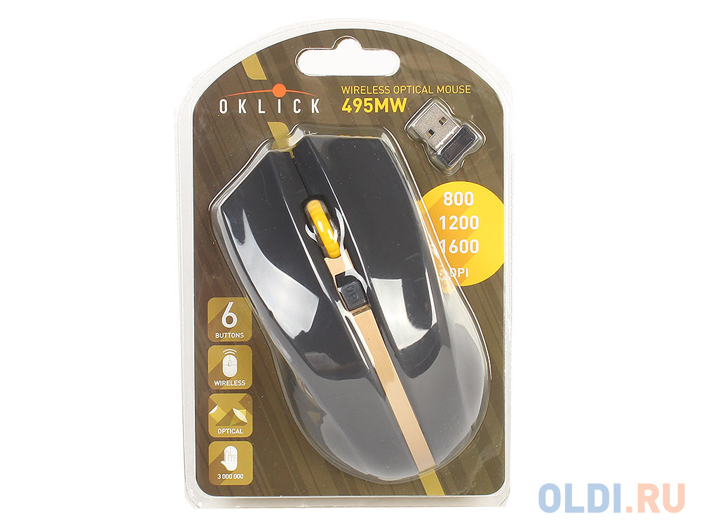 Фото - Мышь Oklick 495MW черный/золотистый оптическая (1600dpi) беспроводная USB (6but) мышь oklick 665mw оптическая черная